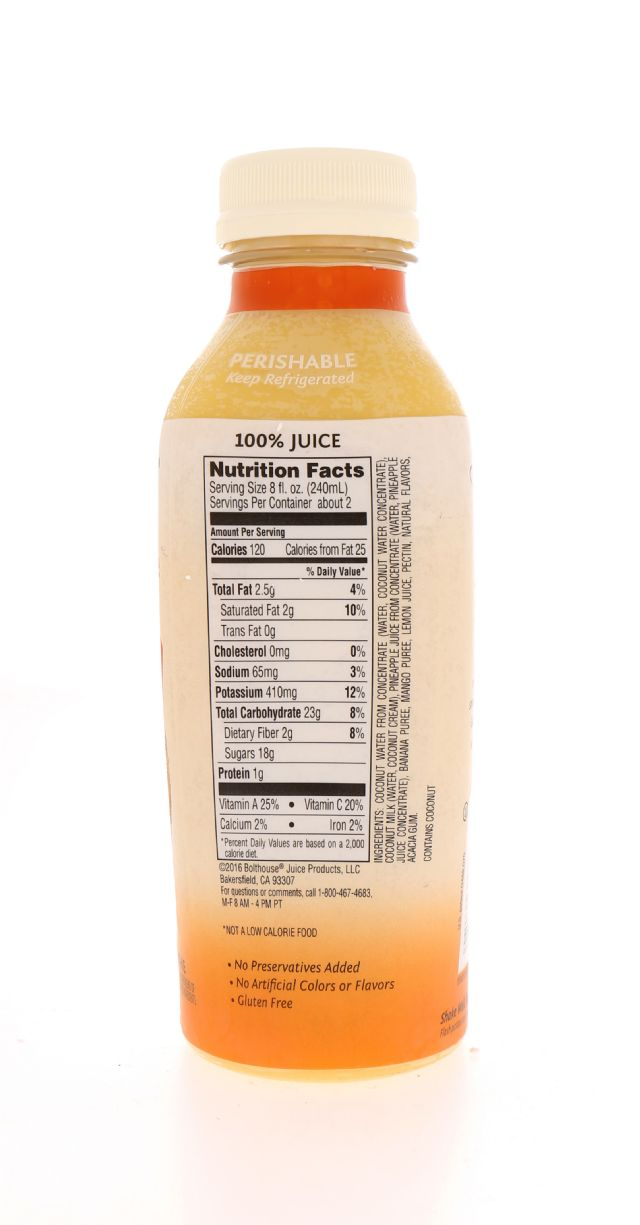 Mango Pineapple Colada; Bolthouse Farms: BF PP MangoPine Facts ...