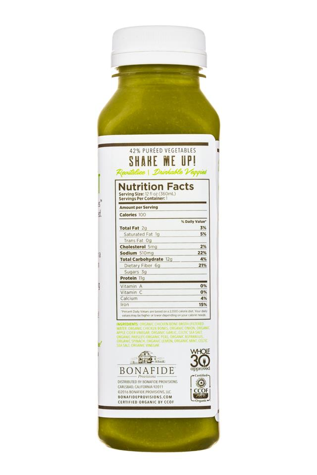 Bonafide Provisions: Bonafide-DrinkableVeggies-12oz-Revitalize-Facts