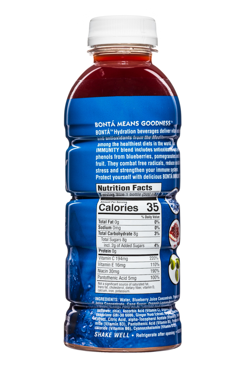 Bonta: BontaHydration-DietNutrients-17oz-Immunity-Blueberry-Facts