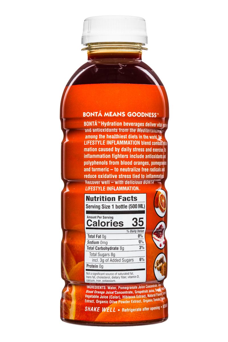 Bonta: BontaHydration-DietNutrients-17oz-Inflammation-BloodOrange-Facts