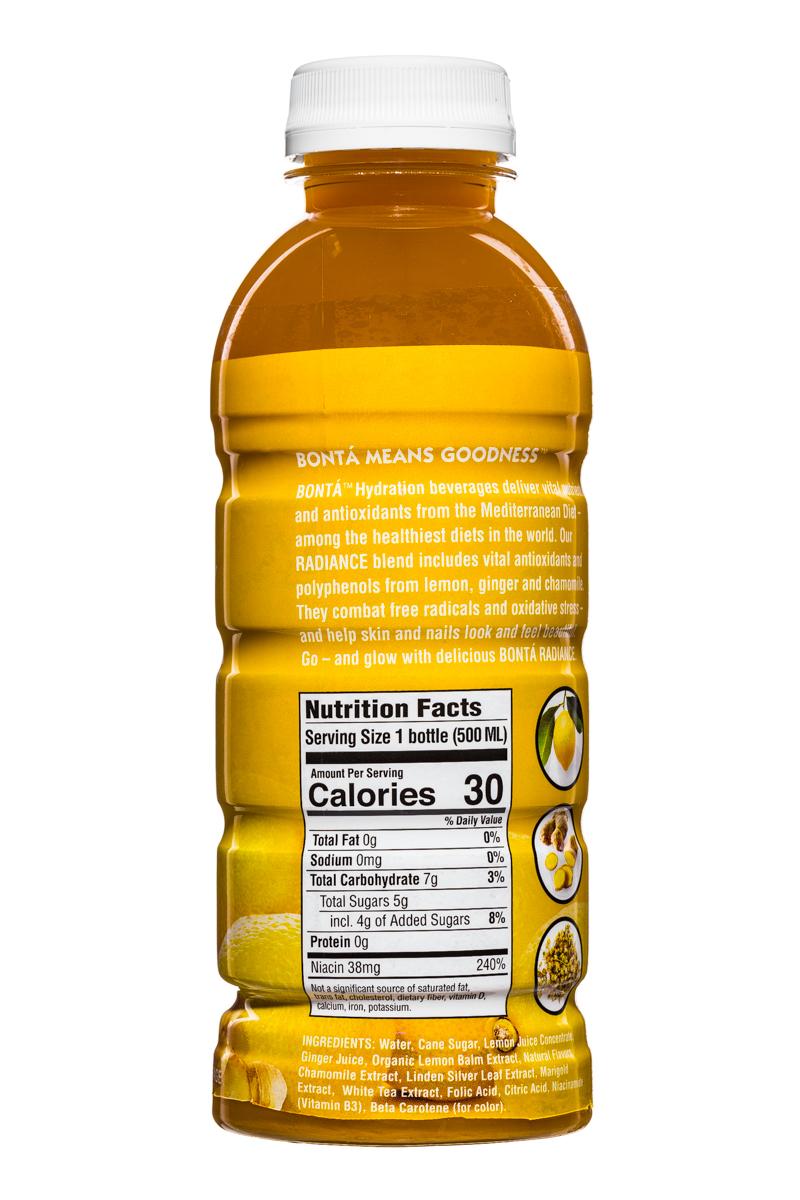 Bonta: BontaHydration-DietNutrients-17oz-Radiance-LemonGinger-Facts
