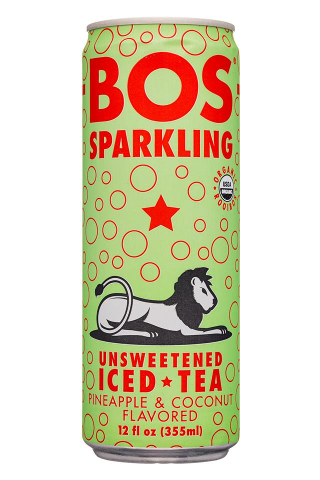 Bos: BosSparkling-12oz-UnsweetIcedTea-Sparkling-PineappleCoconut-Front
