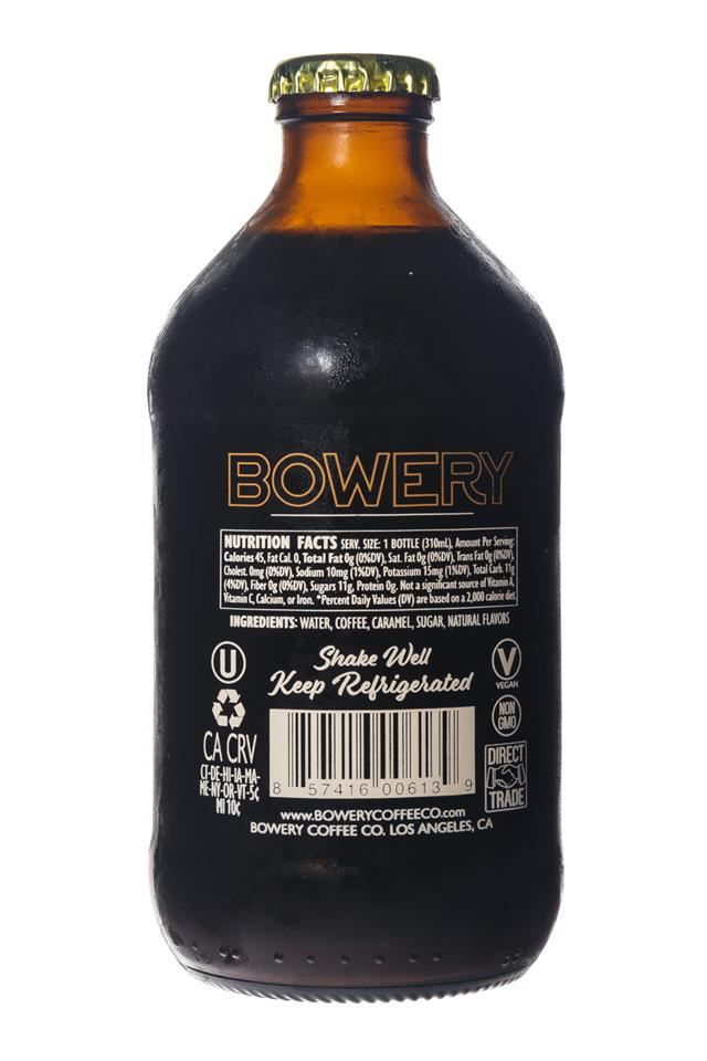 Bowery Coffee Co.: BoweryCoffee-ColdBrew-10oz-ToastedCaramel-Facts