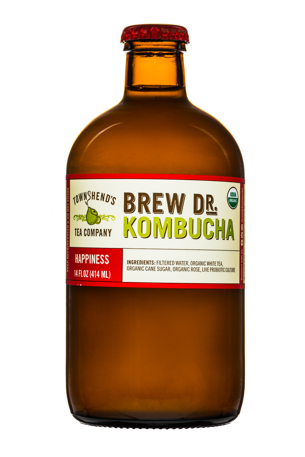 Brew Dr. Kombucha: Townhends-BrewDr-14oz-Happiness-Front