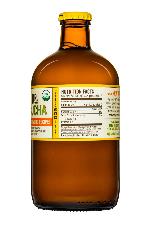 Brew Dr. Kombucha: Townhends-BrewDr-14oz-GingerTurmeric-Facts