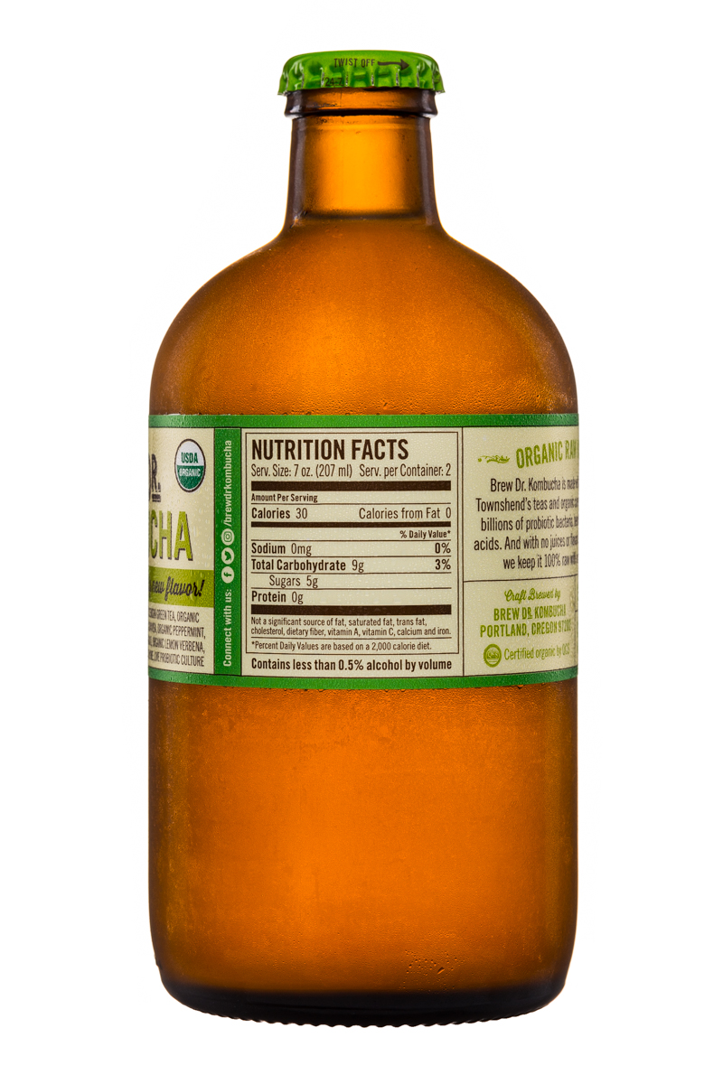 Brew Dr. Kombucha: Townhends-BrewDr-Kombucha-14oz-MintLemonade-Facts