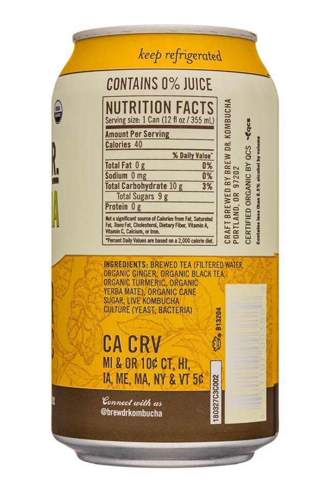 Brew Dr. Kombucha: BrewDr-12ozCan-GingerTurmeric-Facts