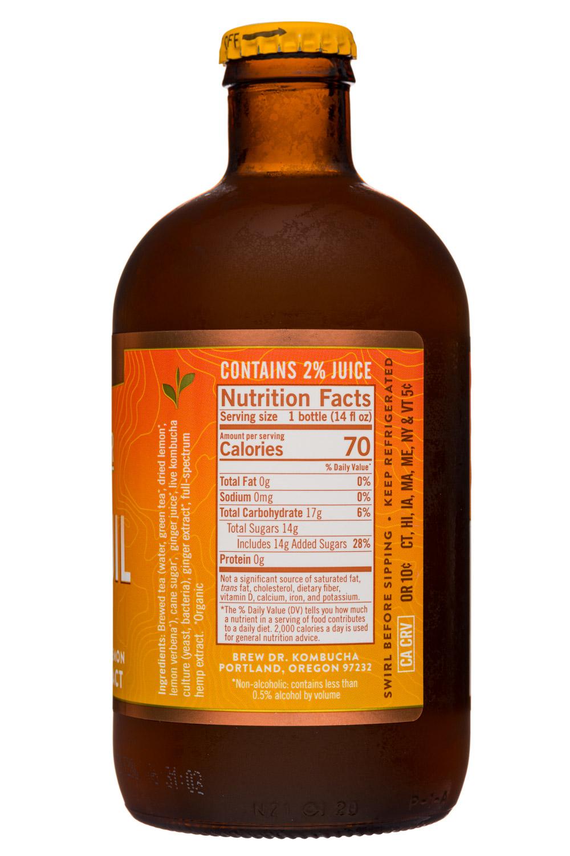 Brew Dr. Kombucha: BrewDr-12oz-2020-Kombucha-Tranquil-Ginger-Facts