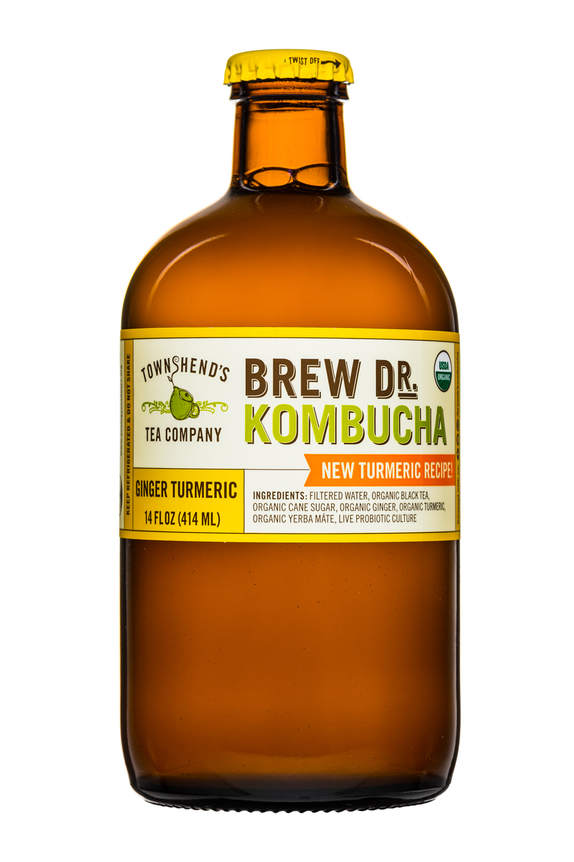 Brew Dr. Kombucha: Townhends-BrewDr-14oz-GingerTurmeric-Front