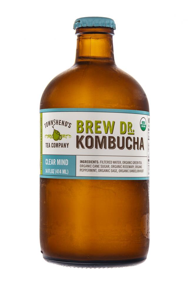 Brew Dr. Kombucha: TownsHendTea-BrewDr-ClearMind-Front