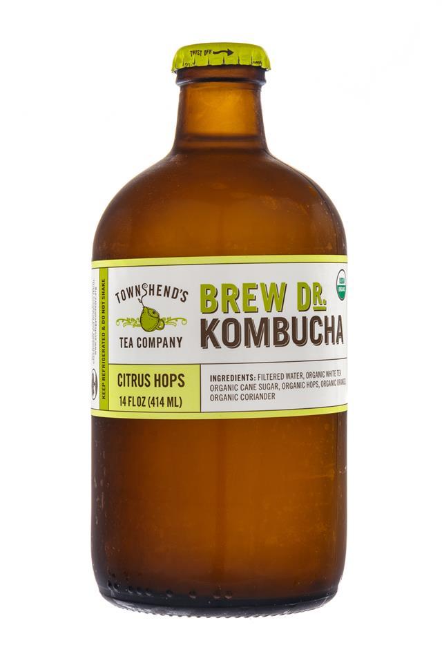 Brew Dr. Kombucha: TownsHendTea-BrewDr-CitrusHops-Front