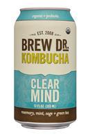 Brew Dr. Kombucha: BrewDr-12ozCan-ClearMind-Front