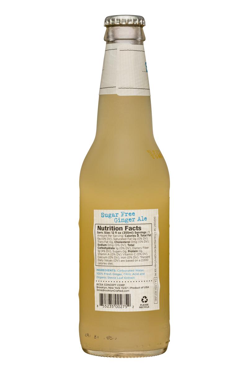 Brooklyn Organics Craft Ginger Ale: BruceCost-12oz-GingerAle-SugarFree-Facts