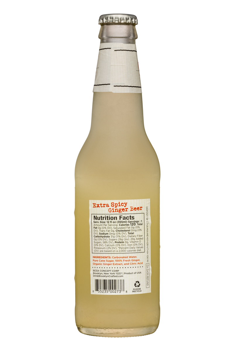 Brooklyn Organics Craft Ginger Ale: BruceCost-12oz-GingerBeer-ExtraSpicy-Facts