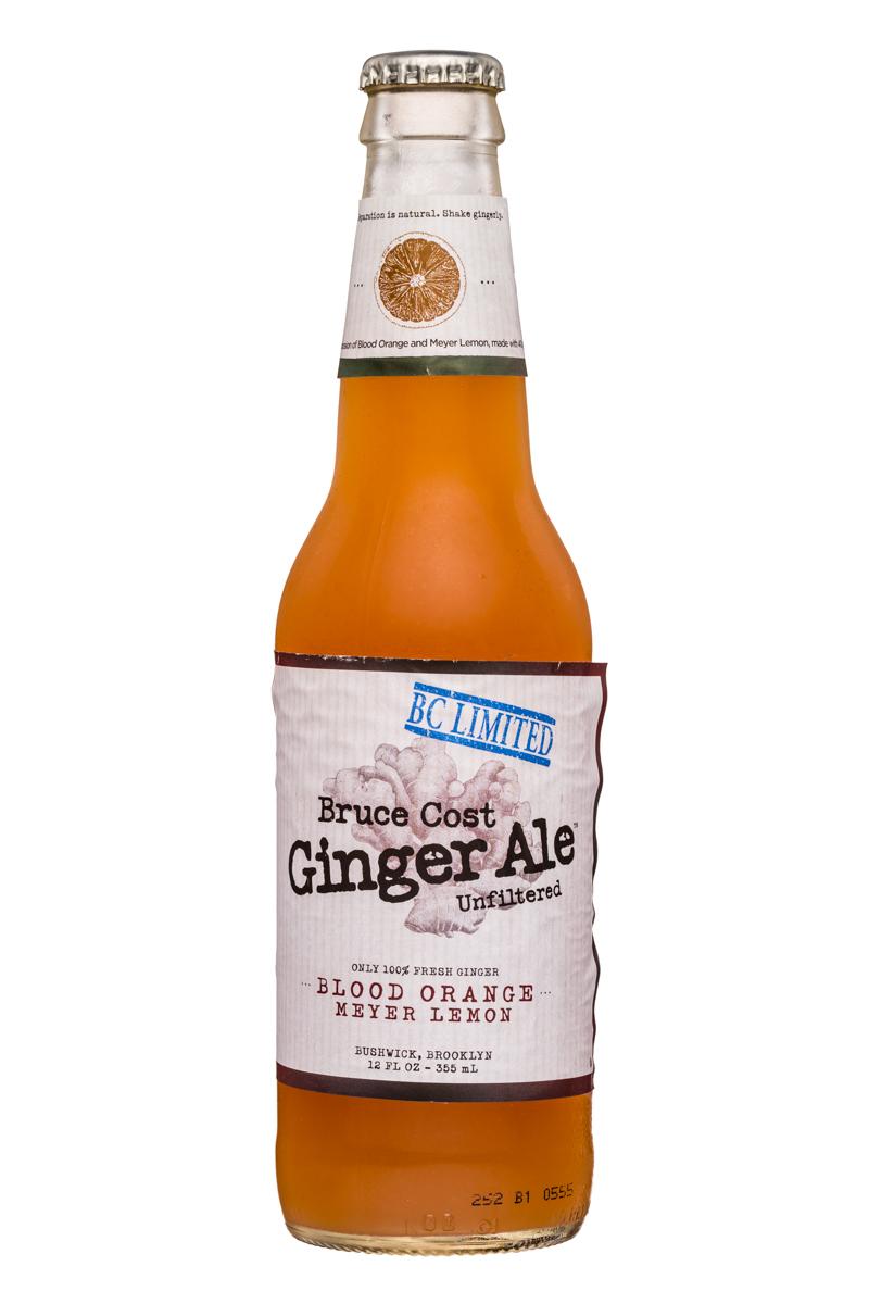 Fresh Ginger Ginger Ale by Bruce Cost: BruceCost-GingerAle-12oz-BloodOrangeLemon-Front