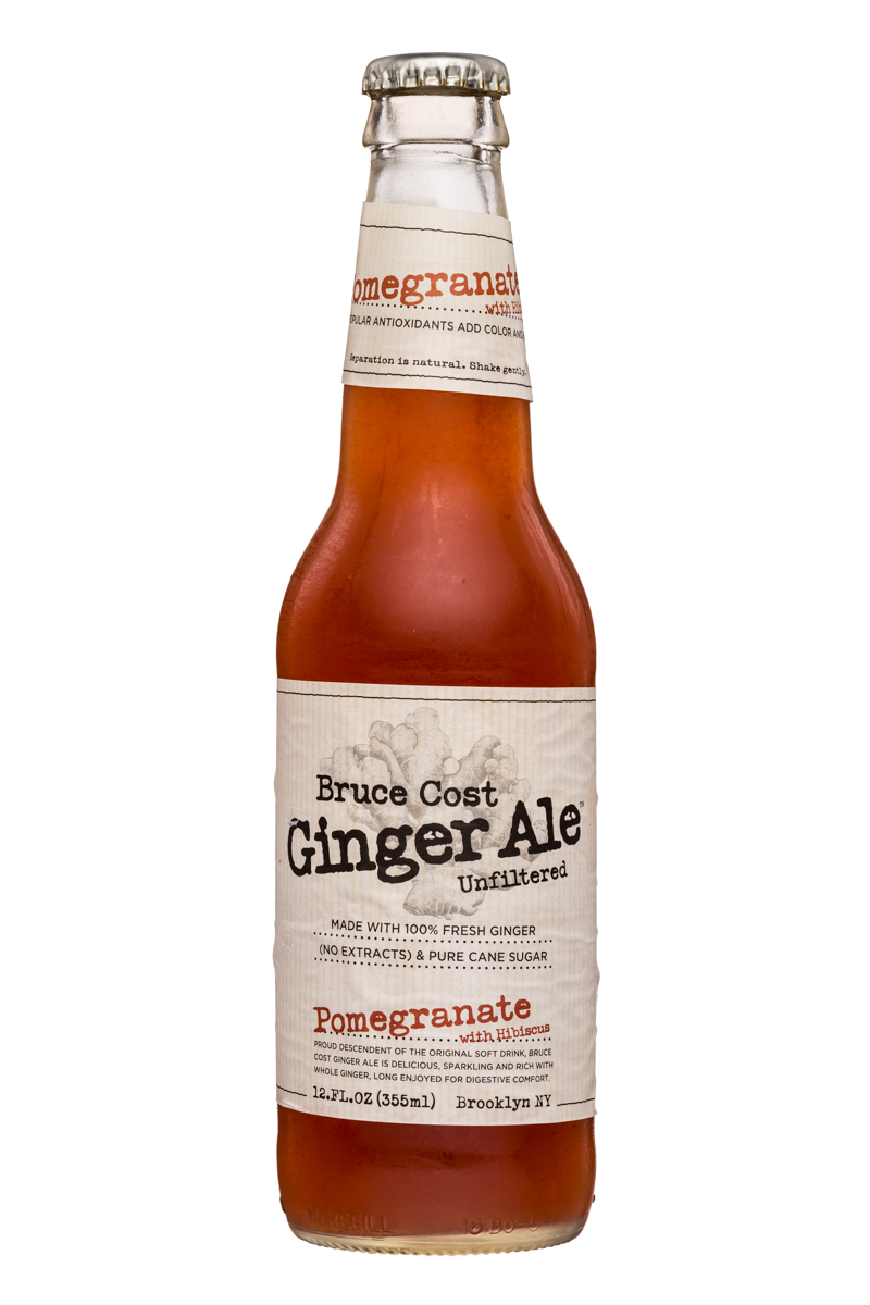 Fresh Ginger Ginger Ale by Bruce Cost: BruceCost-GingerAle-12oz-Pomegranate-Front