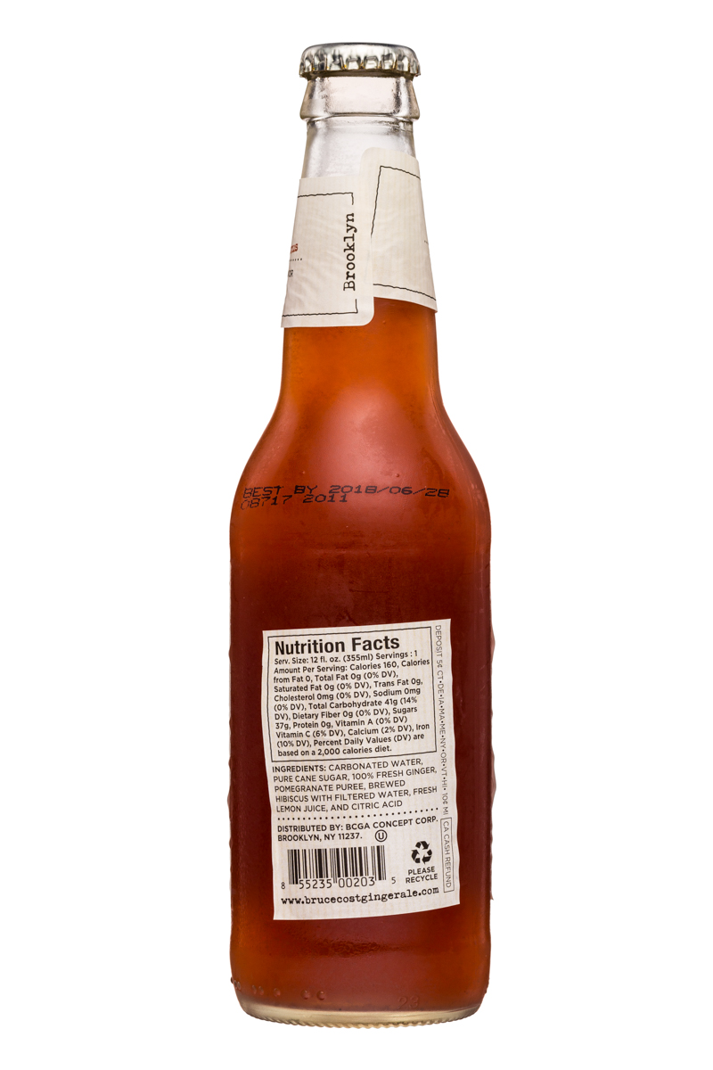 Fresh Ginger Ginger Ale by Bruce Cost: BruceCost-GingerAle-12oz-Pomegranate-Facts