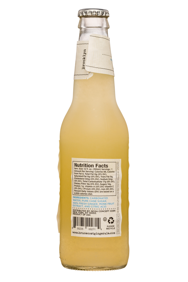 Fresh Ginger Ginger Ale by Bruce Cost: BruceCost-GingerAle-12oz-66Unfiltered-Facts