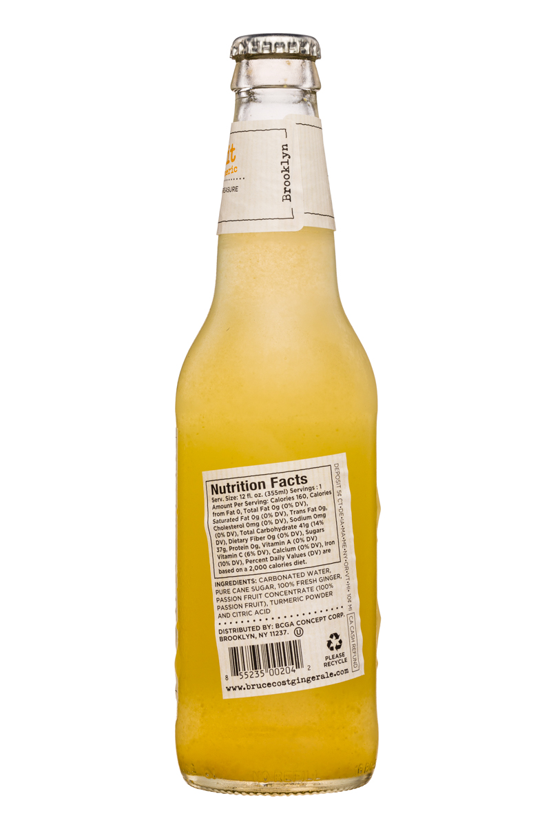 Fresh Ginger Ginger Ale by Bruce Cost: BruceCost-GingerAle-12oz-PassionFruit-Facts
