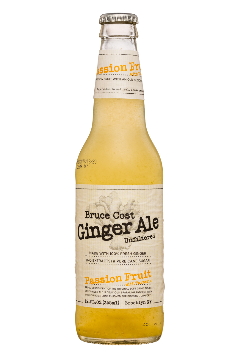 Fresh Ginger Ginger Ale by Bruce Cost: BruceCost-GingerAle-12oz-PassionFruit-Front