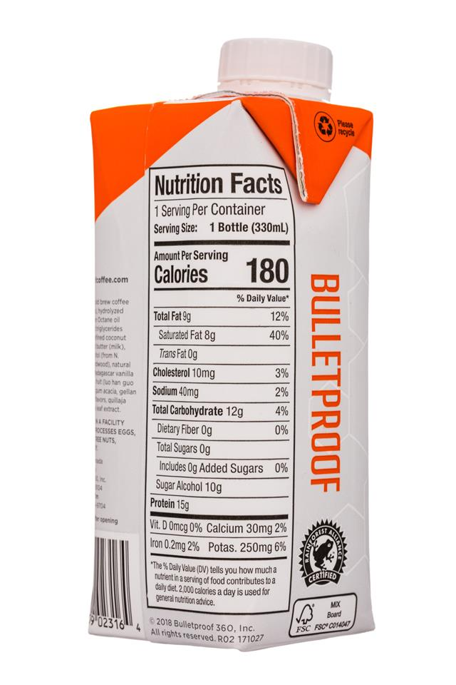 Bulletproof: Bulletproof-11oz-CollagenProtein-VanillaLatte-Facts