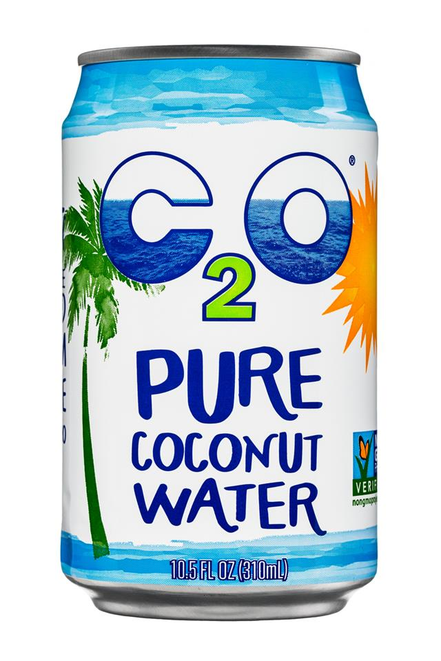 C2O Pure Coconut Water: C20-10oz-Can-PureCoconutWater-Front