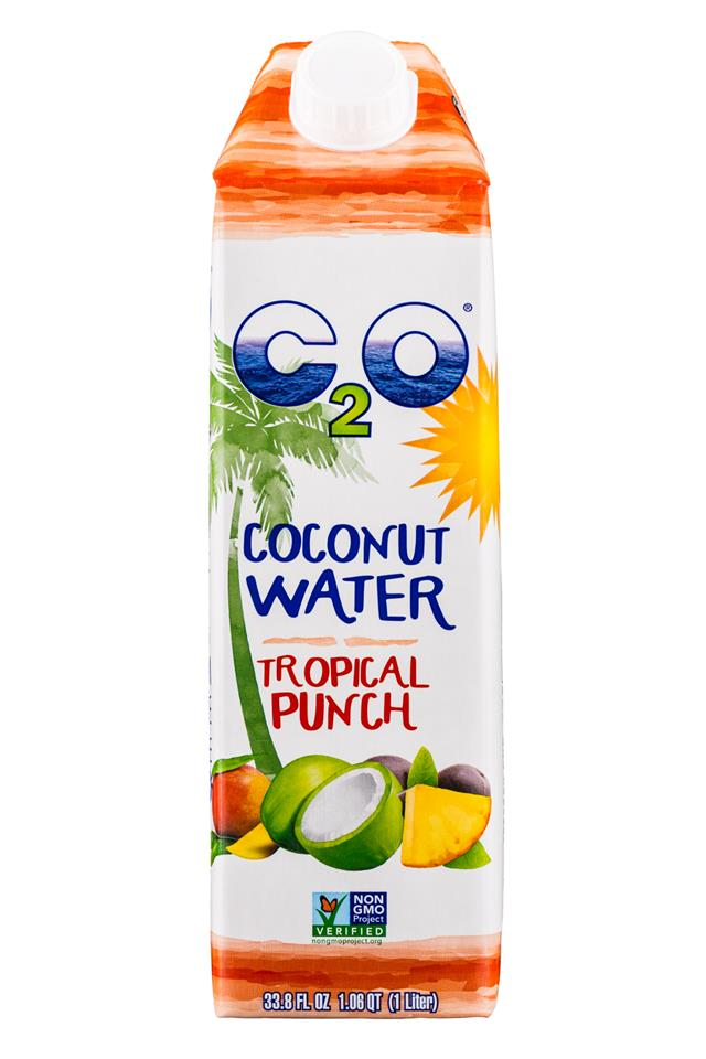 C2O Pure Coconut Water: C2O-CoconutWater-34oz-TropicalPunch-Front