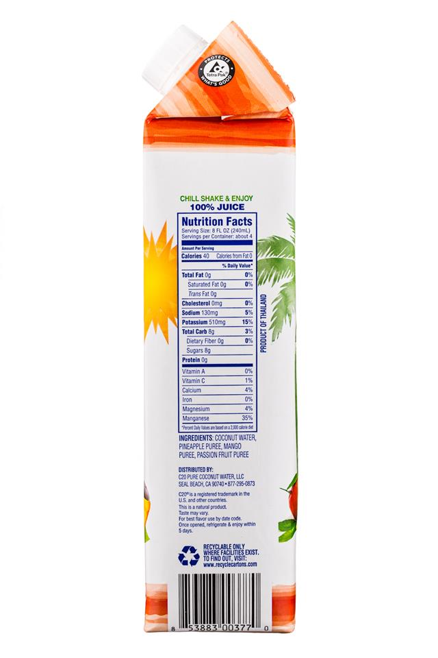C2O Pure Coconut Water: C2O-CoconutWater-34oz-TropicalPunch-Facts