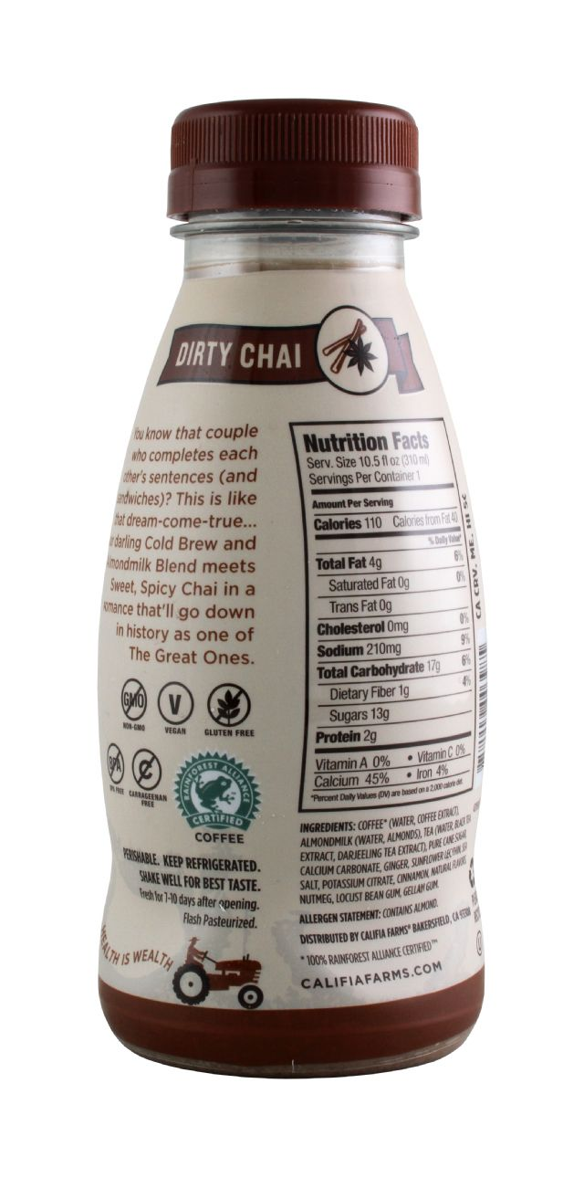 Califia Farms Cold Brew Coffee: Califia DirtyChai Facts