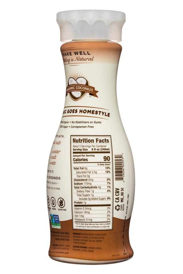Califia Farms: Califia-Organic-HomestyleNutmilk-25oz-Coconut-Facts