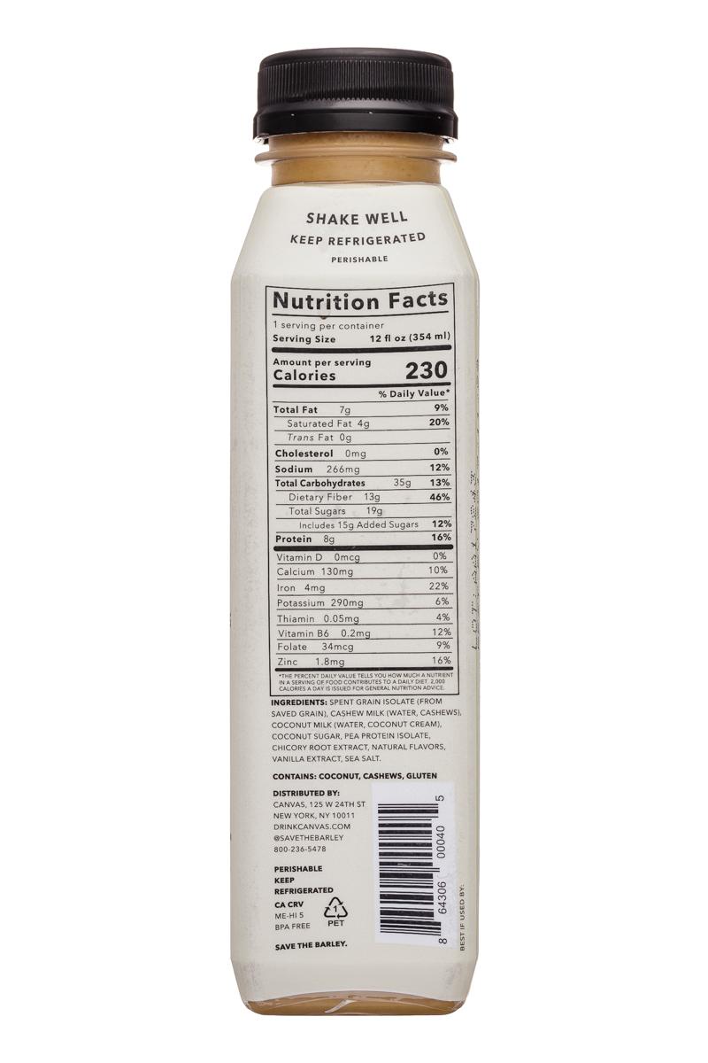 Canvas Barley Milk: Canvas-12oz-BarleyMilk-Original-Facts