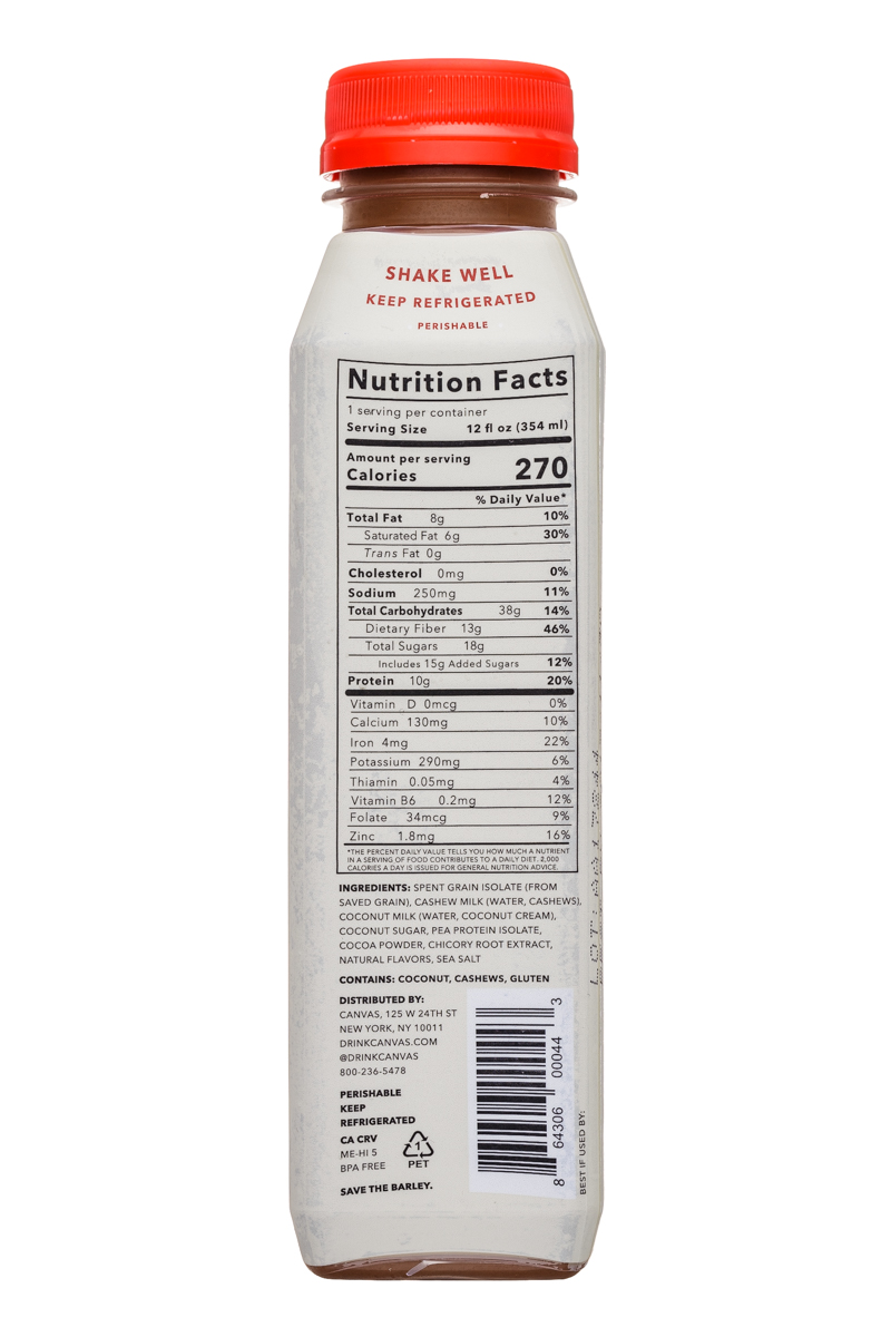Canvas Barley Milk: Canvas-12oz-BarleyMilk-Cocoa-Facts