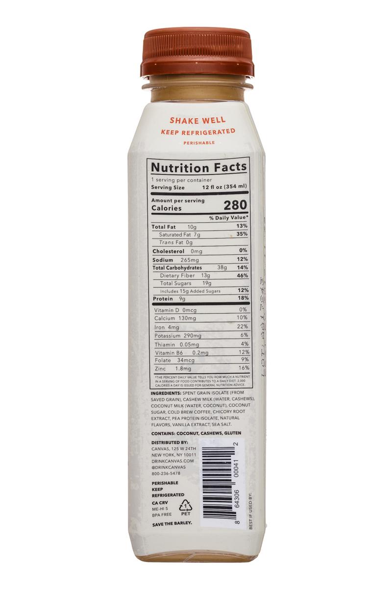Canvas Barley Milk: Canvas-12oz-BarleyMilk-ColdBrewLatte-Facts