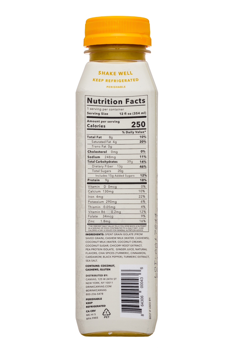 Canvas Barley Milk: Canvas-12oz-BarleyMilk-TurmericChai-Facts