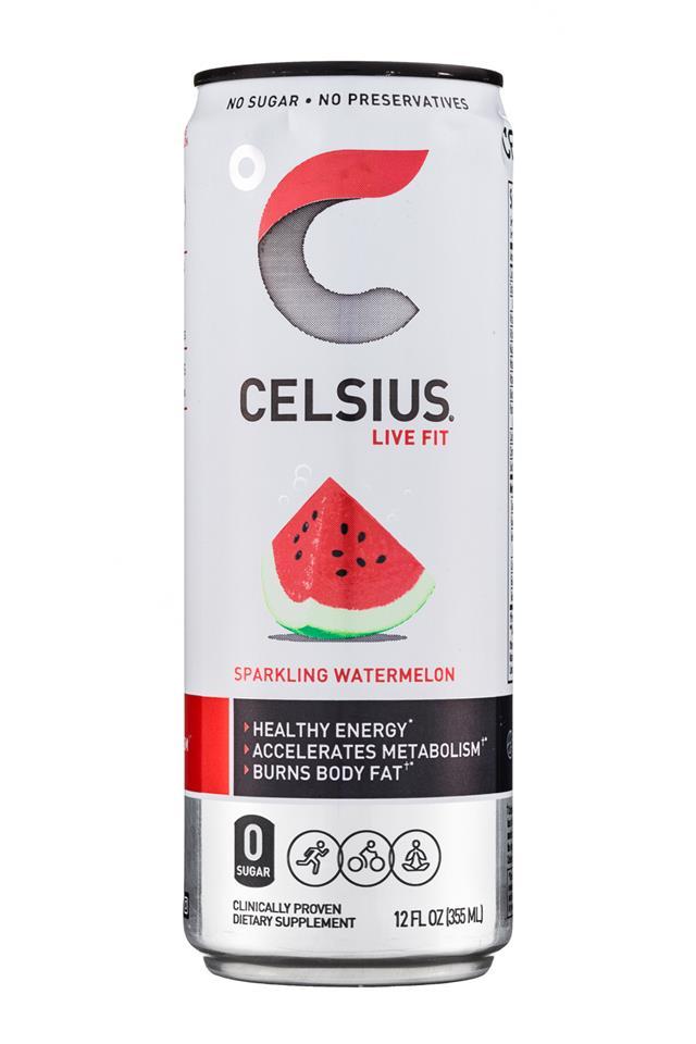 CELSIUS : Celsius-12oz-Sparkling-Watermelon-Front