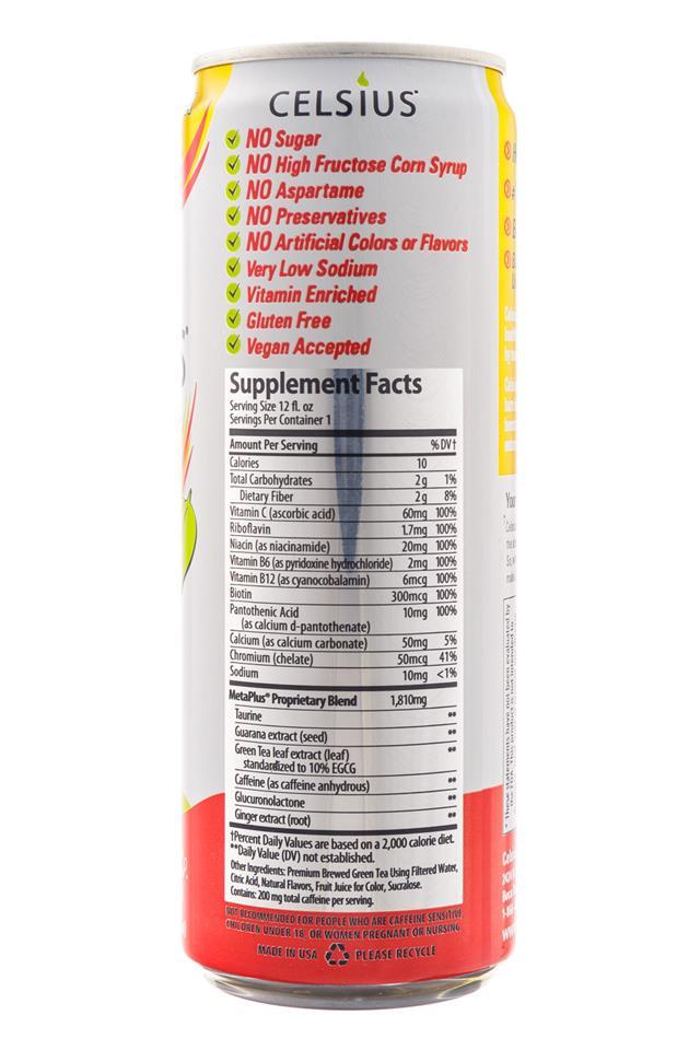 CELSIUS : Celsius-HealthyEnergy-PeachMangoGreenTea-Facts