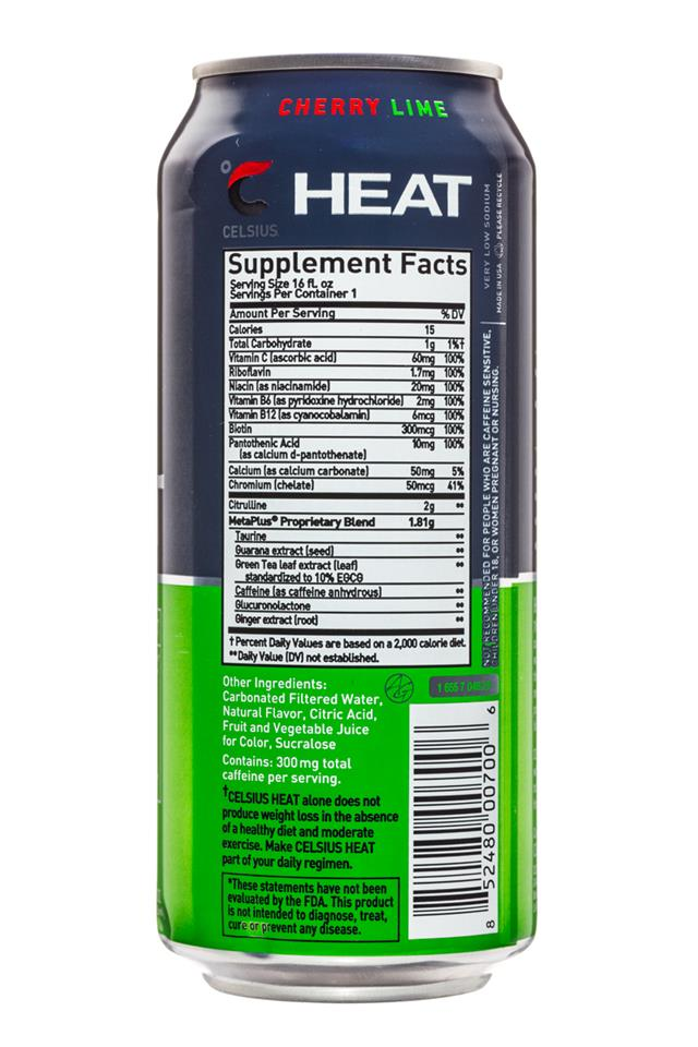 CELSIUS : Celsius-Heat-16oz-CherryLime-Facts