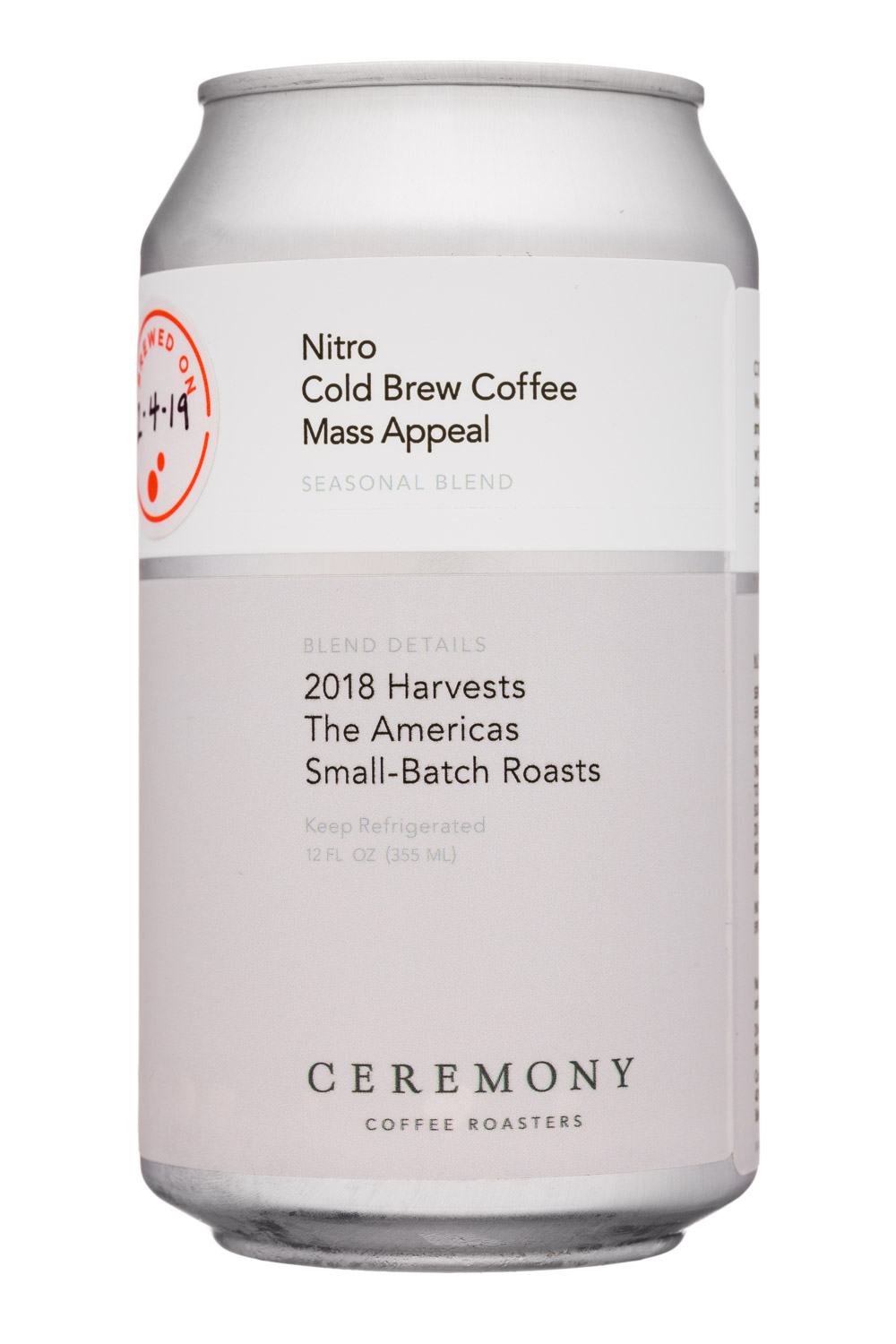 Ceremony Coffee Roasters: CeremonyCoffee-12oz-NitroColdBrew-Front