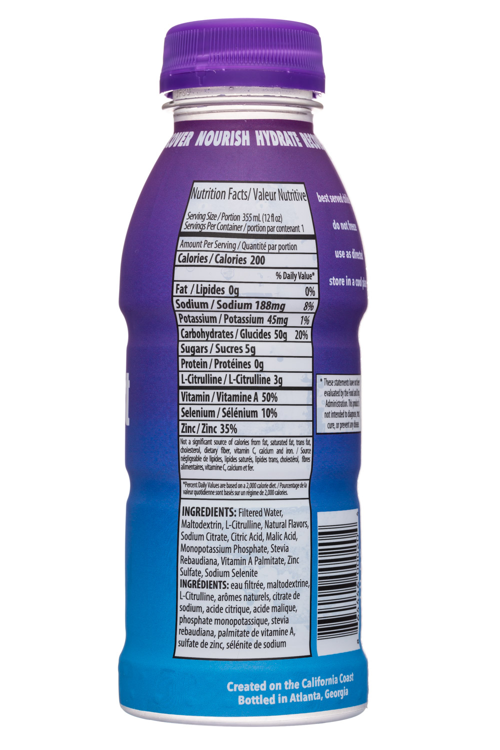 ClearFast: ClearFast-12oz-NutriDrink-WhiteGrape-Facts