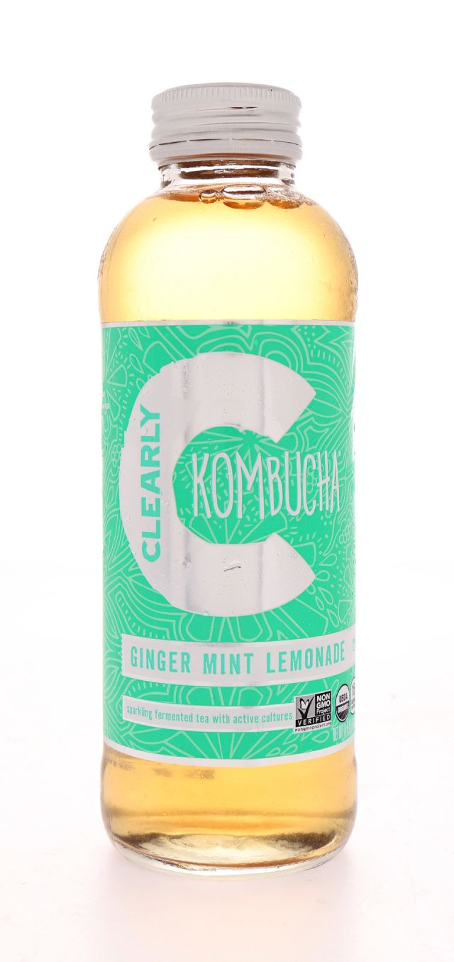 Clearly Kombucha: ClearlyKom GingMintLem Front