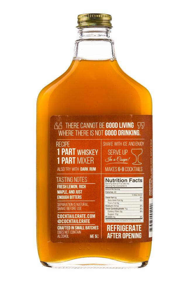 Cocktail Crate: CocktailCrate-12oz-CraftMixer-MapleWhiskeySour-Facts