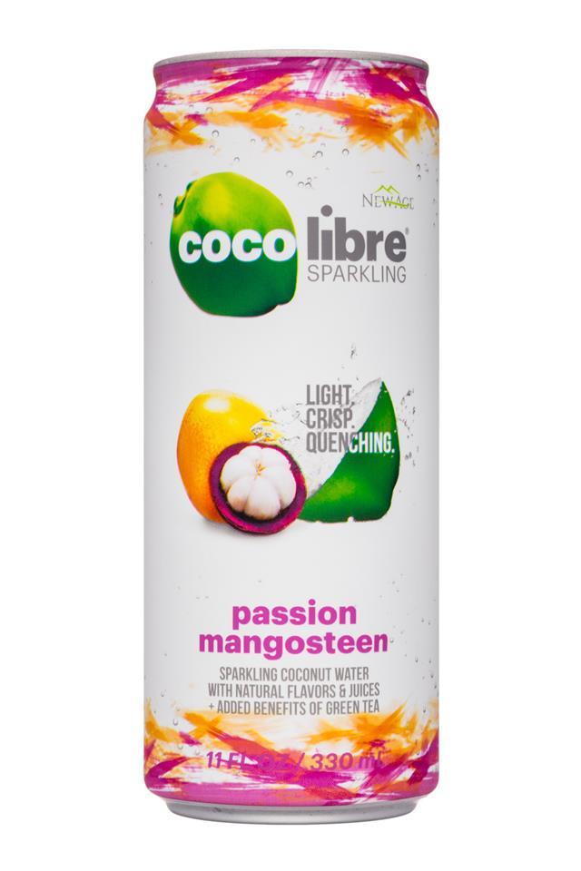 Coco Libre Sparkling Organic Coconut Water: CocoLibre-11oz-SparklingCoconut-PassionMangosteen-Front