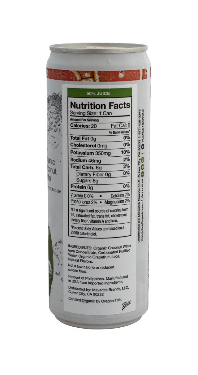 Coco Libre Sparkling Organic Coconut Water: CocoLibre SparkGrape Facts