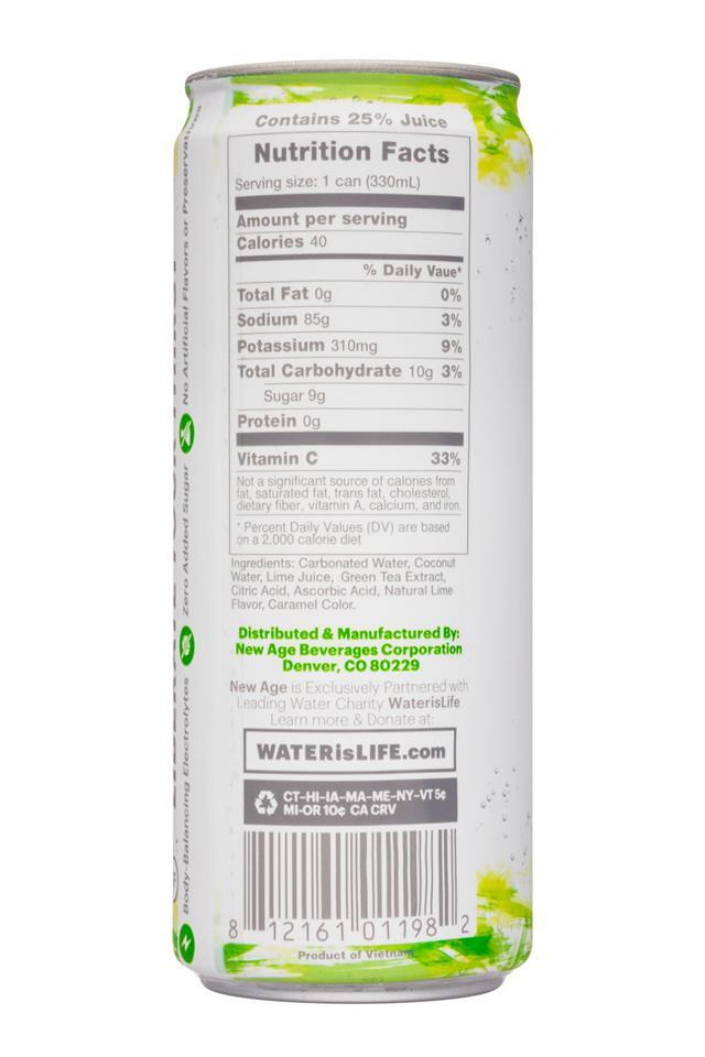 Coco Libre Sparkling Organic Coconut Water: CocoLibre-11oz-SparklingCoconut-CoconutLime-Facts