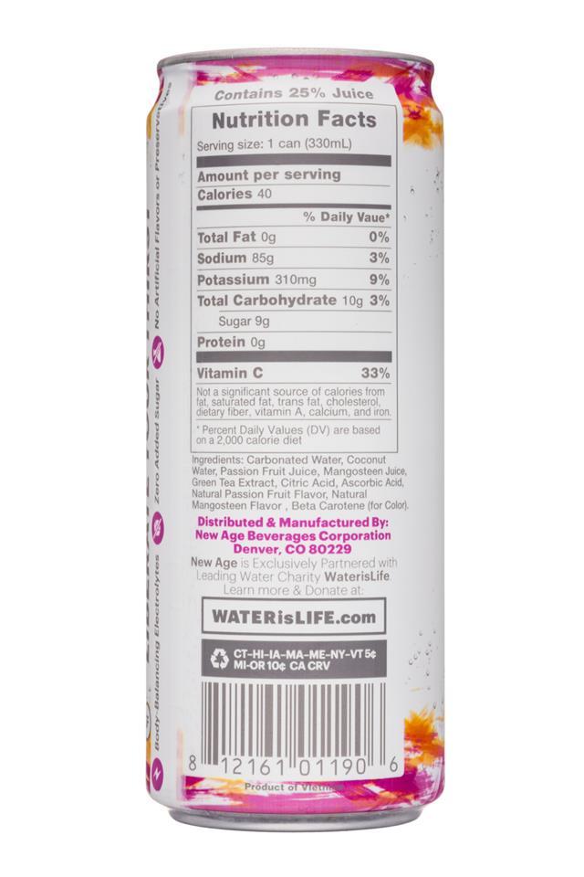 Coco Libre Sparkling Organic Coconut Water: CocoLibre-11oz-SparklingCoconut-PassionMangosteen-Facts