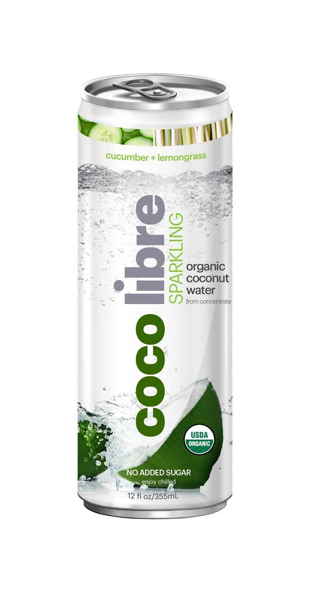 Coco Libre Sparkling Organic Coconut Water: CocoLibre CucumberLem