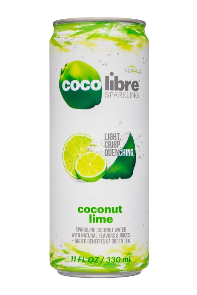 Coco Libre Sparkling Organic Coconut Water: CocoLibre-11oz-SparklingCoconut-CoconutLime-Front