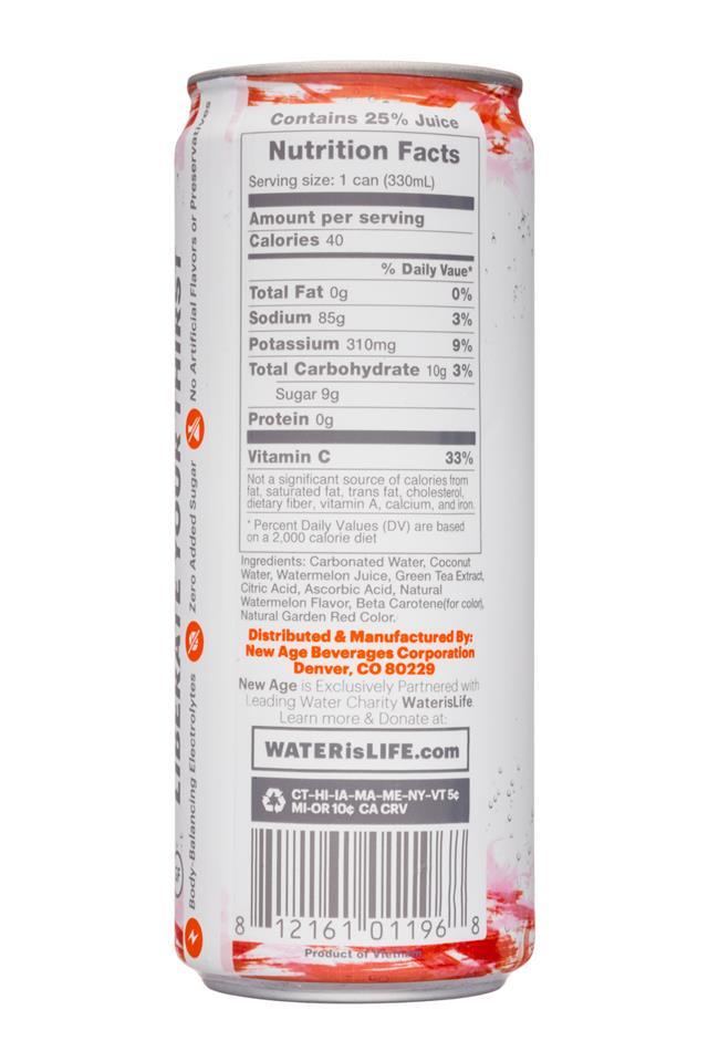 Coco Libre Sparkling Organic Coconut Water: CocoLibre-11oz-SparklingCoconut-CoconutWatermelon-Facts
