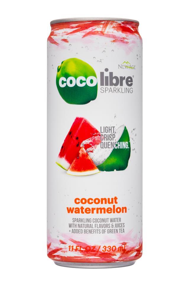 Coco Libre Sparkling Organic Coconut Water: CocoLibre-11oz-SparklingCoconut-CoconutWatermelon-Front