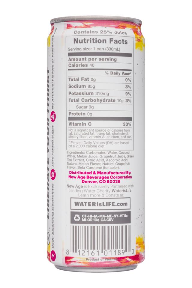 Coco Libre Sparkling Organic Coconut Water: CocoLibre-11oz-SparklingCoconut-MelonGrapefruit-Facts